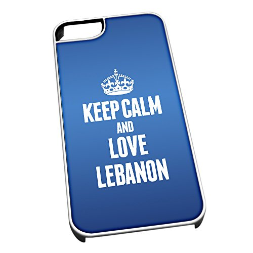 Cover per iPhone 5/5S Bianco 2225 Blu Keep Calm And Love Libano