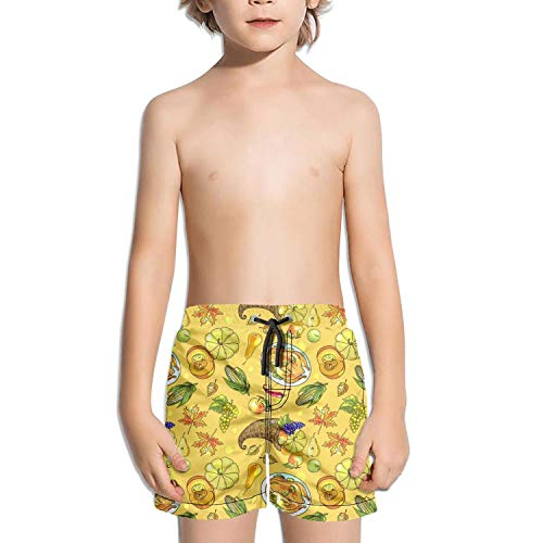 XULANG Kid Happy Thanksgiving Day with Lemon Turkey Swimming Trunks Surf Swim Wear Stretch Boardshorts