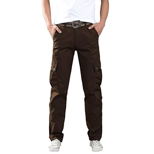 Aurorax Clearance Men's Casual Cargo Pants, Multi-Pocket Sports Fitness Camo Work Pants (Coffee, 36=Waist:35.8