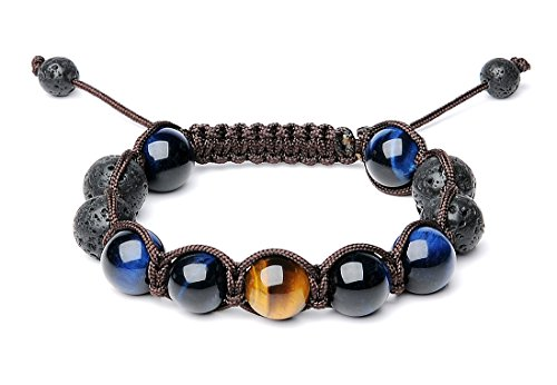 Bella.Vida Mens 12mm Natural Lava Stones and Tigers Eye Bead Handmade Adjustable Braided Bracelet -