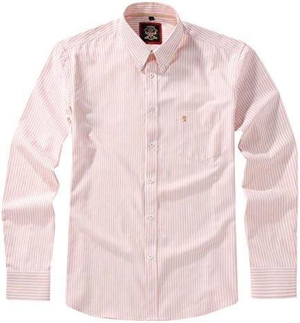 Camisa de manga larga para hombre, con botones Inglés Oxford, 12 colores lisos y patrón de rayas a juego. Paquete combinado de dos o individuales. ...