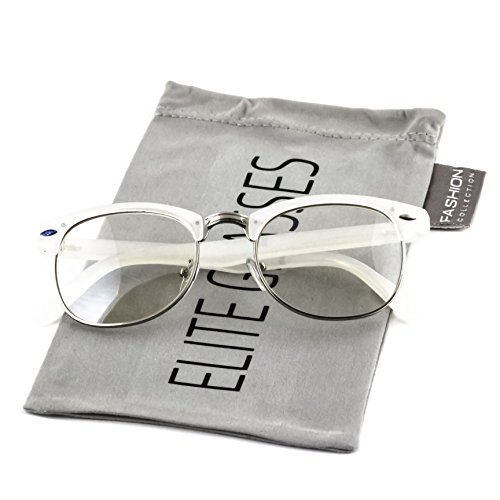 Elite Classic Horned Rim Semi Rimless Sunglasses Men Women Retro Brand Clubmaster Glasses 50mm (White-Silver, - Clubmaster White