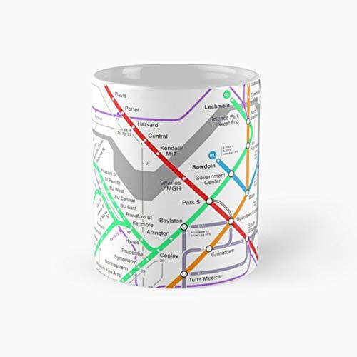 gocontigo - MBTA Boston Subway - The T (light background) Mug 11 Oz White Ceramic