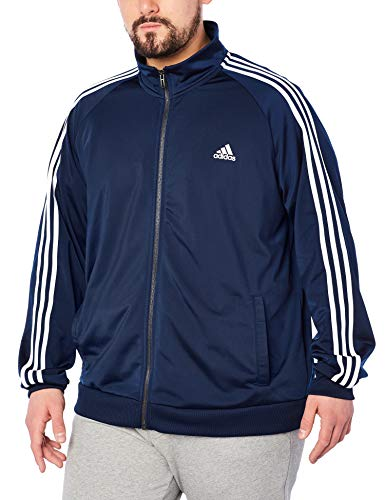 adidas Men's Essentials 3-Stripe Tricot Track Jacket, Collegiate Navy/White, Large