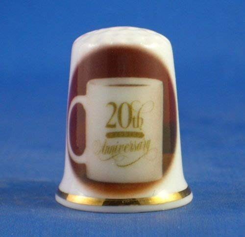 Birchcroft Porcelain China Collectable Thimble -- 20th China Wedding Anniversary Birchcroft China