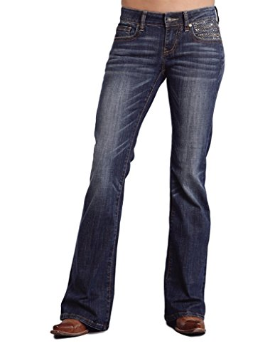 Stetson Women's 816 Classic Fit Asym Embroidery Blue Jeans (Metallic Zip Fly Jeans)