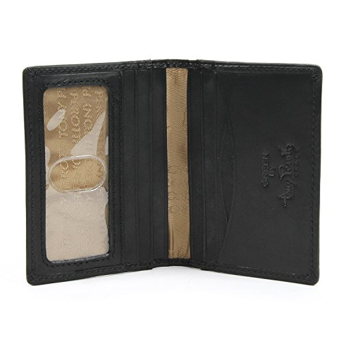 Tony Perotti Mens Italian Cow Leather Front Pocket Bifold Weekend Wallet with ID Window in Black