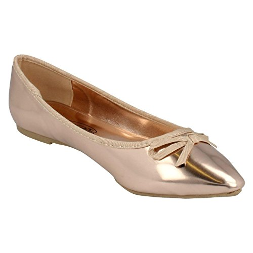 Ladies Bow Rose Gold Detail Spot On Flats qz566v