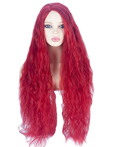 Angelaicos Women's Long Red Wig Wavy Culry Party Cosplay Halloween Costume Wigs (Wavy Style)