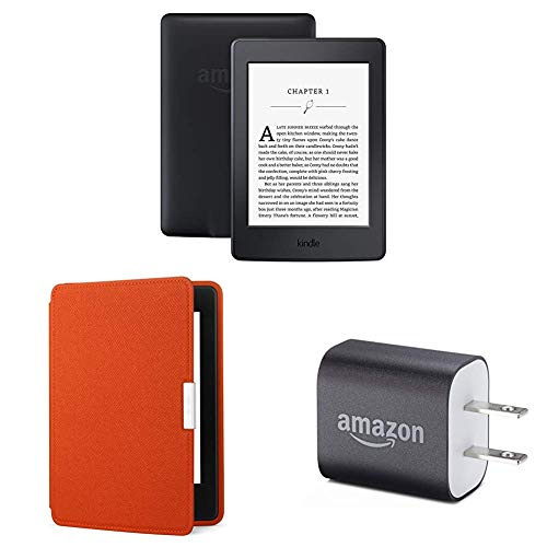 "Kindle Paperwhite Essentials Bundle including Kindle Paperwhite 6"" E-Reader (Previous Generation - 7th), Black , Amazon Leather Cover - Persimmon, and Power Adapter"