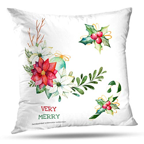 - LILYMUA Christmas and New Year Collection Bouquets with Leaves Branches Zippered Pillow Cover,18 x 18 inch Square DecorativePillow Case Fashion Style Cushion Covers(Two Sides Print)