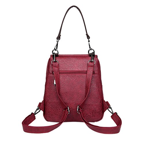 Closure Casual Zipper Red Tote Stone Girl Bag Chilie Shoulder Rucksack Grain Bag Backpack Handbag Decor PU Vertical Women Magnetic qPfxw4A