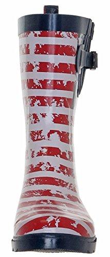 Capelli New York Glänsande Amerikanska Flaggan Print Damer Regn Stövlar Marinen Combo