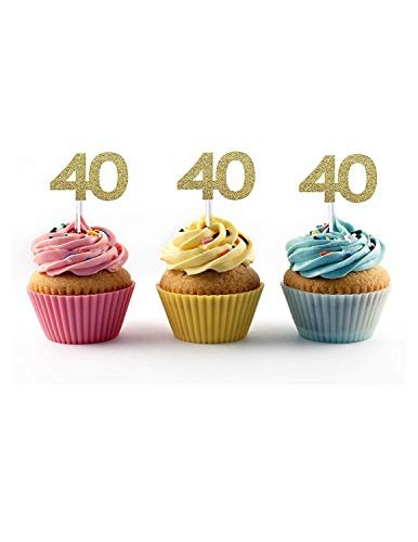 40th Birthday Cupcake Toppers (20 count) - Forty 40 Fortieth Anniversary Party Decoration Retirement (Gold) -