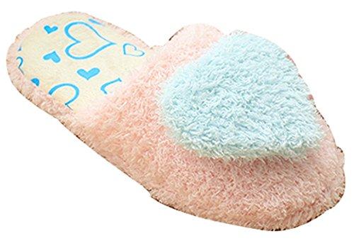 Blubi Womens Love Coeur Déco Mignonnes Chaussons Femmes Pantoufles Bleu