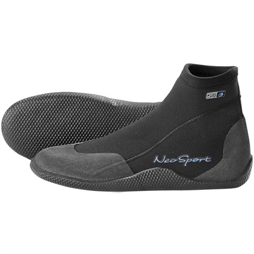 NeoSport Wetsuits Premium Neoprene 3mm Low Top Pull On Boot, Black, 5 - Water Shoes, Surfing & Diving