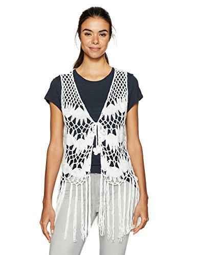 Steve Madden Women#039s Crochet Clover Vest white One Size