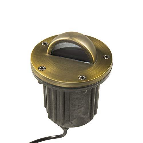 Lumen Logic 12V In-Ground Brass Well Light (Beacon Top) with LED MR16 Bulb - Low Voltage Driveway, Deck, Step, Garden, Yard & Landscape Lighting