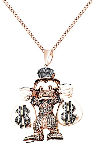 Multicolor Cubic Zirconia Cartoon Scrooge Mcduck Hip Hop Pendant in 14k Two-Tone Rose Gold Over Sterling Silver (4.25 Cttw) by AFFY