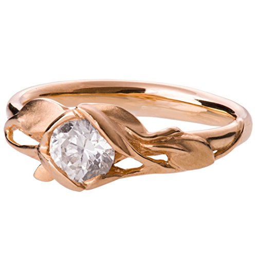 Leaves Engagement Ring For Women Leaf Diamond Solitaire Unique 18K Rose Gold by Doron Merav