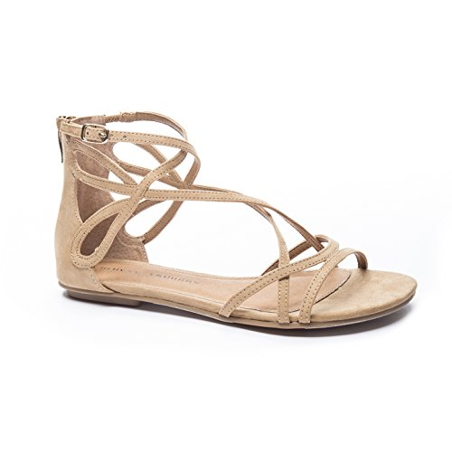 Micro Suede Sandals (Chinese Laundry Women's Penny Gladiator Sandal, Camel Suede, 9.5 M US)