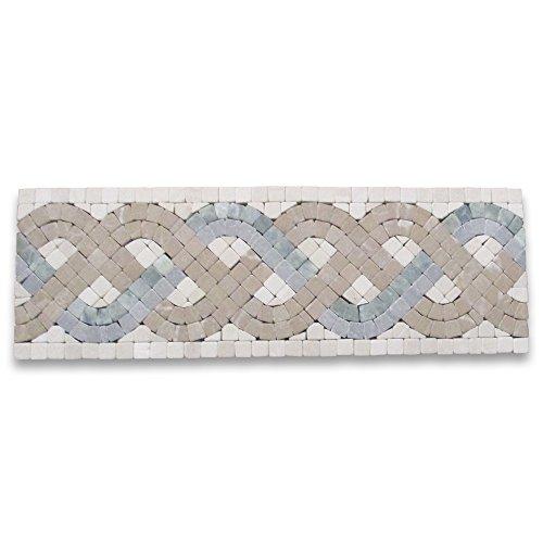 (Triple Rope Verde 4x12 Marble Mosaic Border Tumbled)