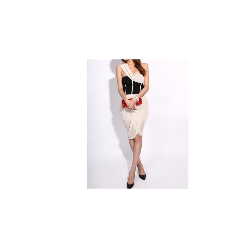Krazy Sexy Club Cocktail Party Evening Dress #159 Nude Size L Clothing