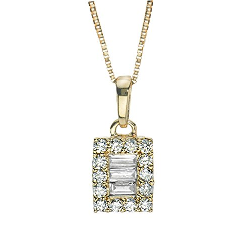 Diamond Necklace 1/5 ct tw Baguette/Round 14K Yellow Gold ()