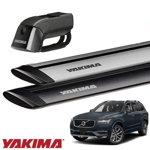 [YAKIMA 正規品] ボルボ XC90 ルーフレール付き車両に適合 ベースキャリアセット (ティンバーラインジェットストリームバーM) ブラック B07K9K67P8