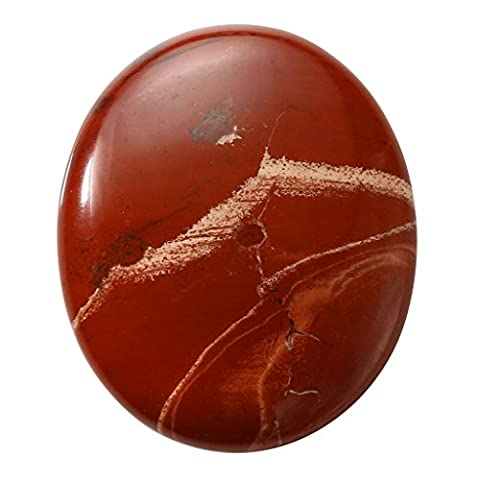 QGEM Red Jasper Oval Carved Thumb Worry Stone Healing Crystals Pocket Palm Stone w/Box