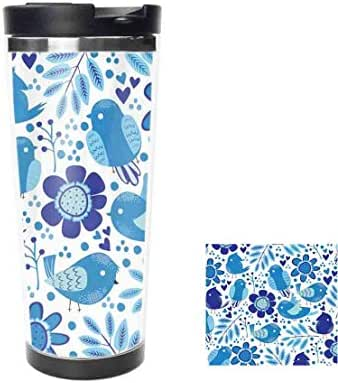Blue Flowers and Birds Stainless Steel Water Bottle Leak-Proof Vacuum Insulated Flask Pot Sport Double Wall Thermos Mug for Hot and Cold Drinks Coffee 14oz,400ML