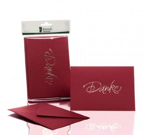 Rössler 1181956072 Kartenpack B6 (120 / 240 x 169mm), - Danke - rosso