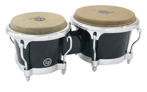 LP200XFBK Black Fiberglass Bongos, Comfort Curve II Rims by Latin Percussion