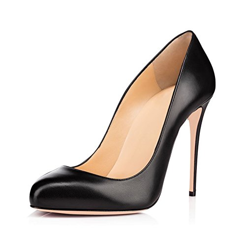 Joogo Round Toe Party Stilettos Slip On High Heels 4.7 inches Thin Heel Classics Pumps Black Matte Size 5