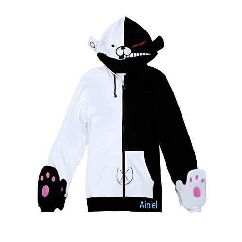 Ainiel Unisex Cute Winter Warm Thicken Long Sleeve Hoodie Jacket W/gloves (L, Common White Black) (Cool Anime Costumes)