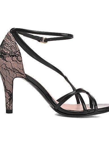 Aiguille Talons Sandales Shangyi Chaussures Noir Casual Skaï Amande Noir Talon Femmes Tulle USqanTSw