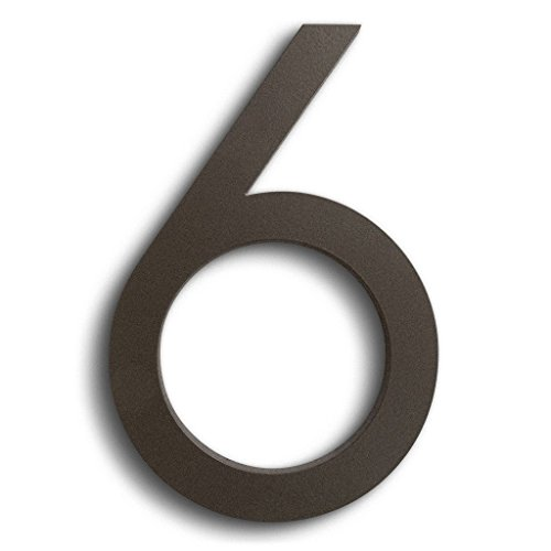 "Modern House Number Bronze Color Aluminum Modern Font Number Six""6"" 6 inch"