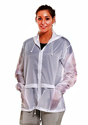 Hari Deals Femme impermable Kagool Cagoule Veste impermable Blanc - Blanc
