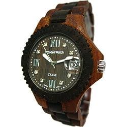 Tense Two Tone Round Date Wooden Watch Mens Roman Dark Dial G4100SD RNDF