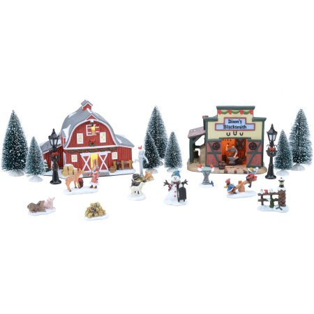 20-Piece Wonderful Country Set Christmas Village, Handpainted by Holiday Time