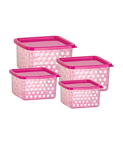 Joyo Fresia Multipurpose Plastic Storage Container Set, 4-Pieces, Pink