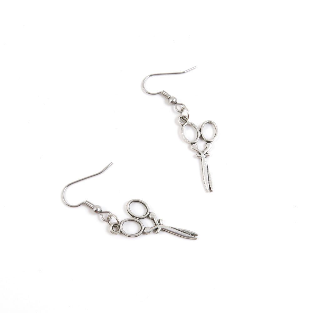 1 Pairs Jewelry Making Antique Silver Tone Earring Supplies Hooks Findings Charms X4TY1 Scissors Bijouxtown