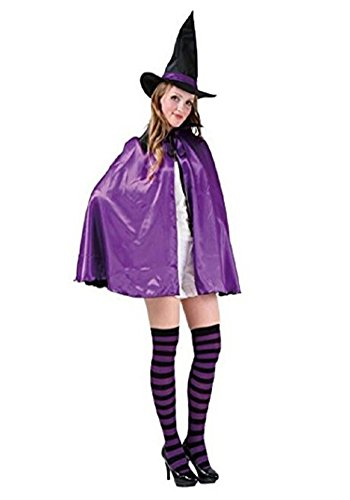 Ornament Christmas Cape - Unisex Adults Women Men Silk Witch Cloak Long Cape Coat with a Hat Halloween Costume Christmas Theater Cosplay Ornament (90CM Purple)