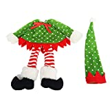 Christmas Wine Bottle Cover Bottlewear Wine Bag Decoration Hat Dress Set Outfit - Green, One Size