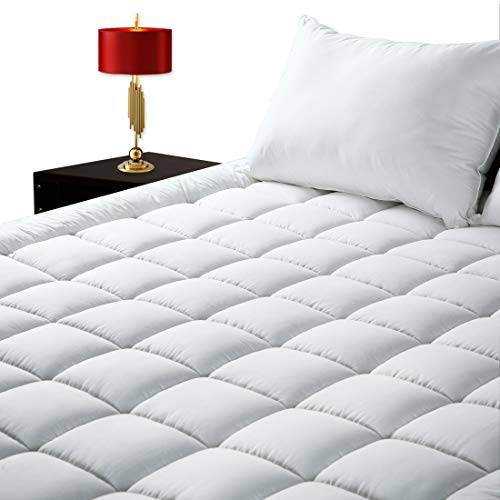 GOPOONY Queen Mattress Pad Cover Quilted Cooling Mattress Padding Topper 400 TC Cotton Top Deep Pocket 8″-21″ Fitted Pillow Top Protector (White, Queen)