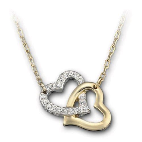 Swarovski+Clear+Crystal+MATCH+Pendant+LOVE+HEARTS+Gold+Necklace+#1062708