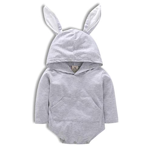 Wiswell Baby Boys Girls Easter Bunny Romper Long Sleeve Bodysuit Cartoon Overall Rabbit Hooded Clothes (Grey, 70/0-6months)