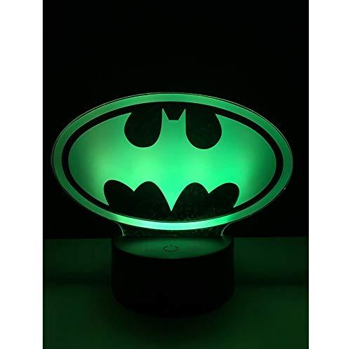 Cute Batman Multicolor Schlafzimmer dekoratives Nachtlicht USB LED 3D Tischlampe Beleuchtung Kabel Kinder Geschenk Party Atmosph/äre
