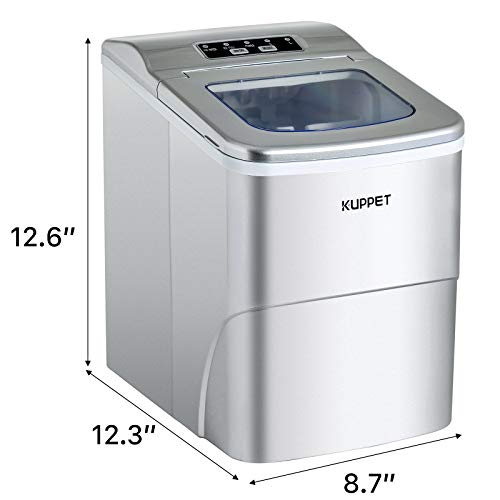 KUPPET Countertop Ice Maker Machine, Portable Automatic Ice Maker with LCD Display, 9 Ice Cubes Ready in 6min, 26 lbs/day - for Parties/Home/Office/Bar, Ice Scoop and Basket (Silver)