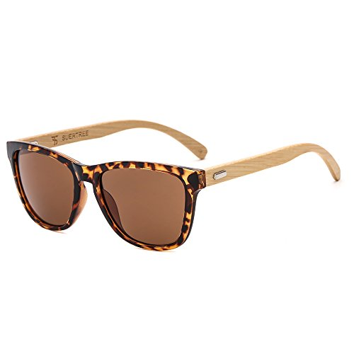 SUERTREE Bamboo Sunglasses for Women Men Vintage Wood Sun Glasses Retro in Wayfarer Classic Handmade Wooden Shades Fashion Woodies Eyewear Horn Rimmed UV400 Protection Demi Frame Brown - Wayfarer Sunglasses Customize